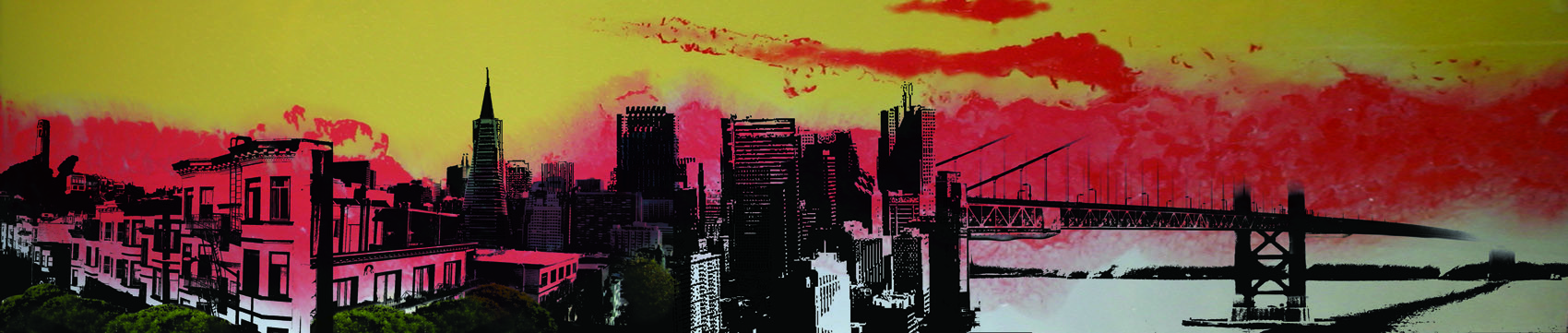 "A Fire In The Sky Above San Francisco, 2009 Mixed Media on Glass 25"" x 80"""