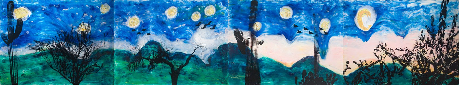 "Dead Desert Night Series, 2007 48"" x 36"" Liquid Plastic, Oil Paint, Porcelain, Silk Screen, on Canvas. SOLD"