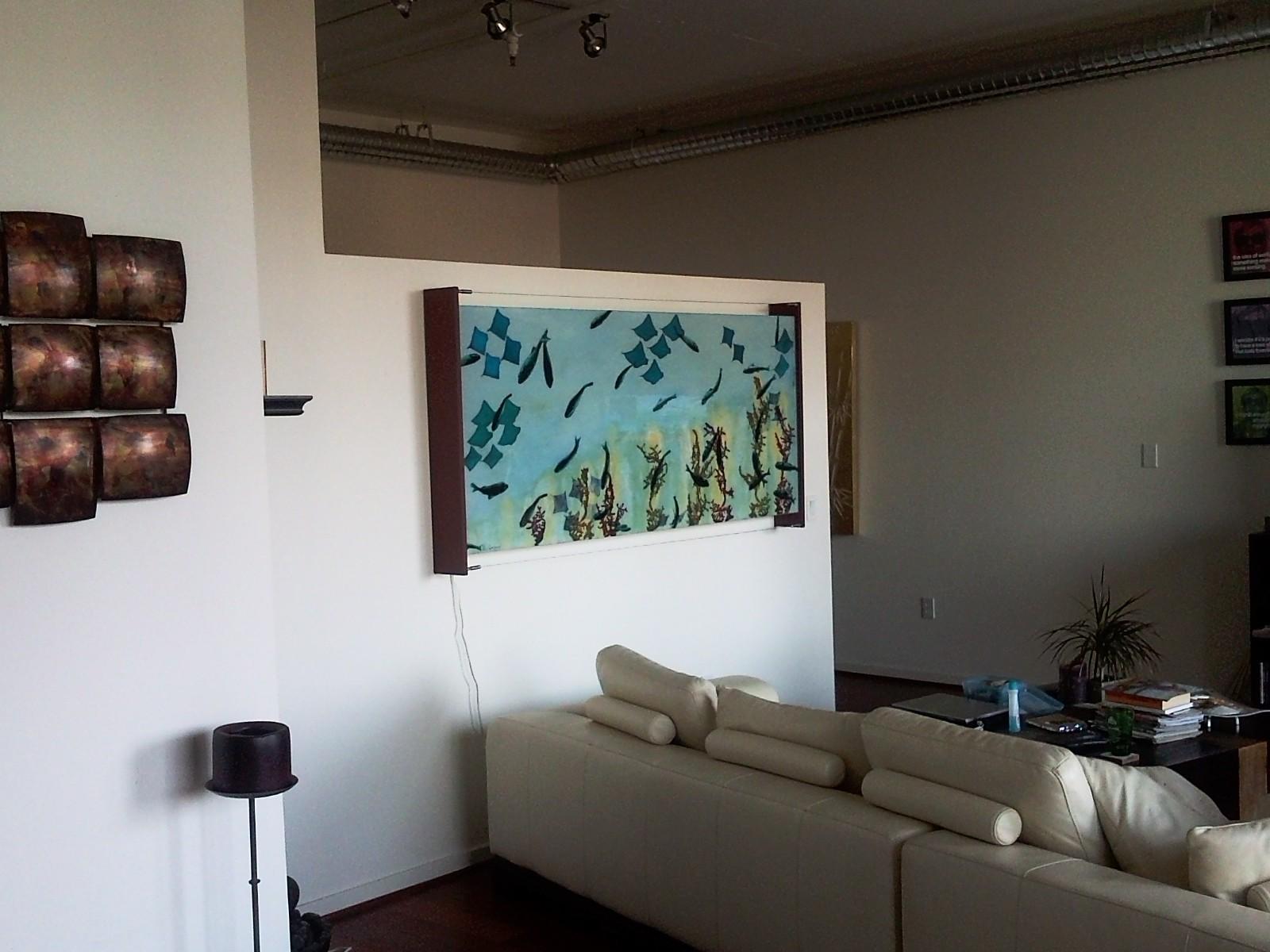"Aquarium #2, 2011 Mixed Media on Glass 28 x 76"" $4500"
