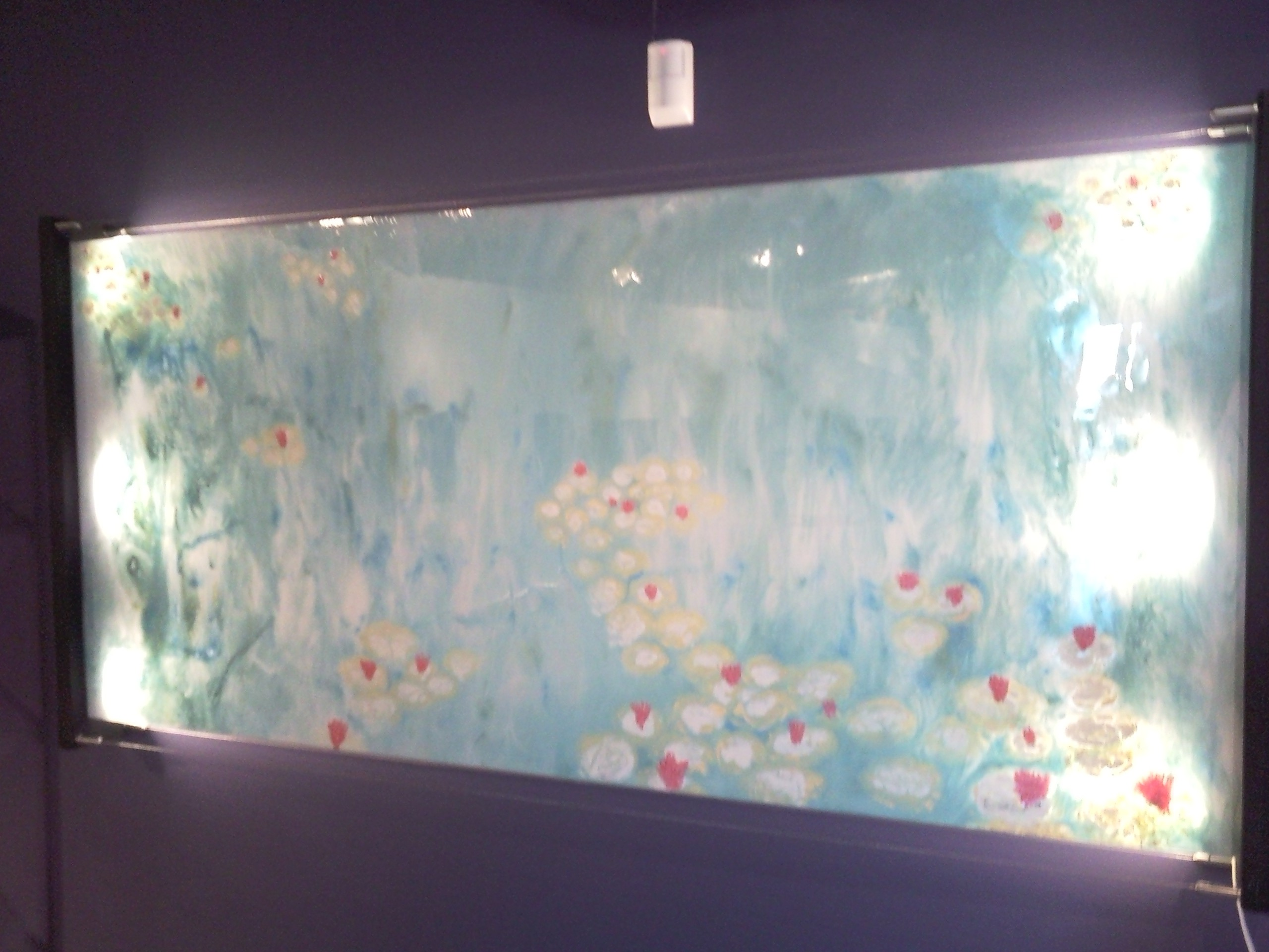 "Water Lilies #14, 2010 72""x38"", Liquid Plastic, Oil Paint, Porcelain on Glass Sold"
