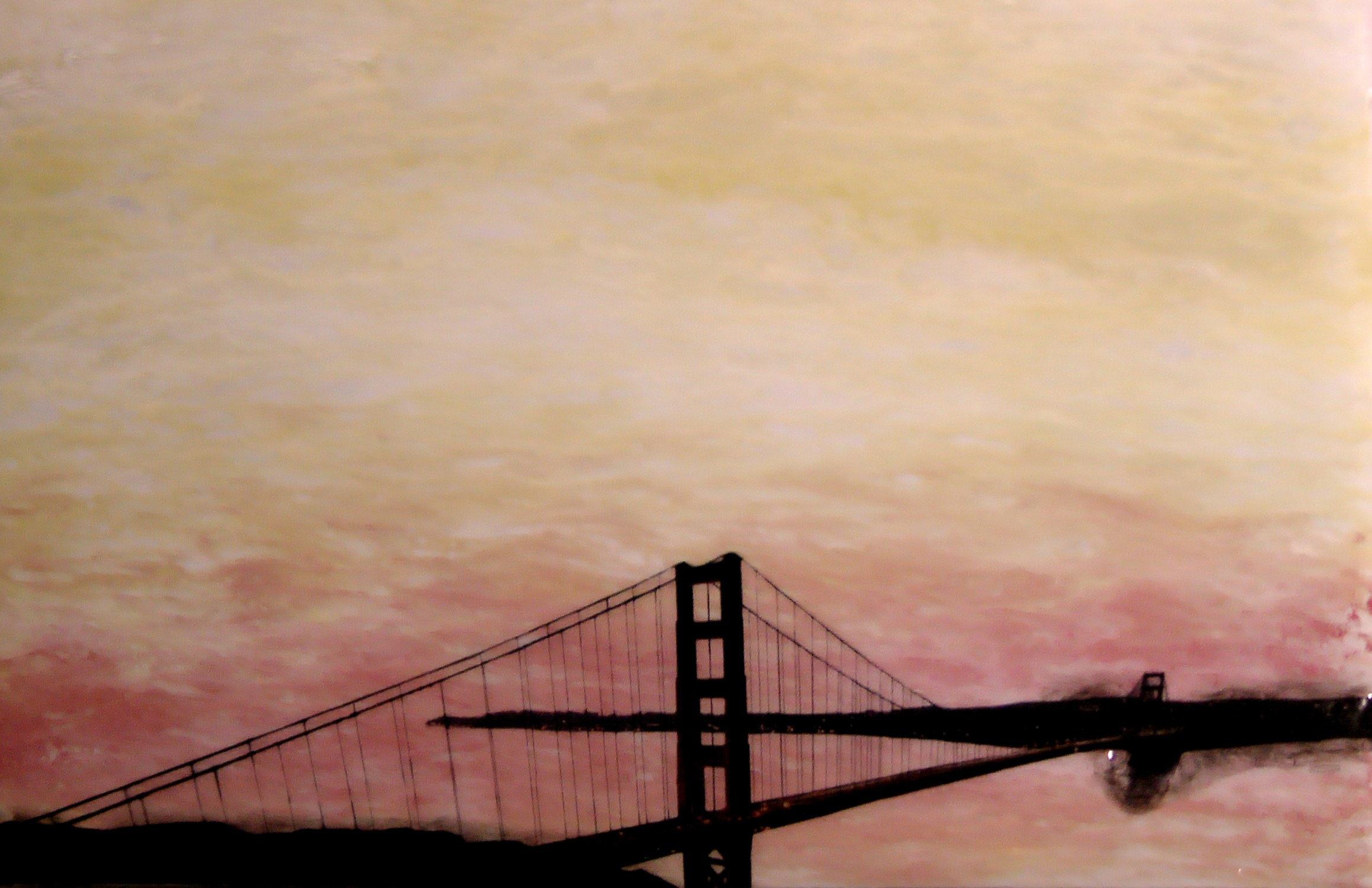 "A San Francisco Sun Set, 2012 22"" x 38"", Triptych Mixed Media on Glass $1500"