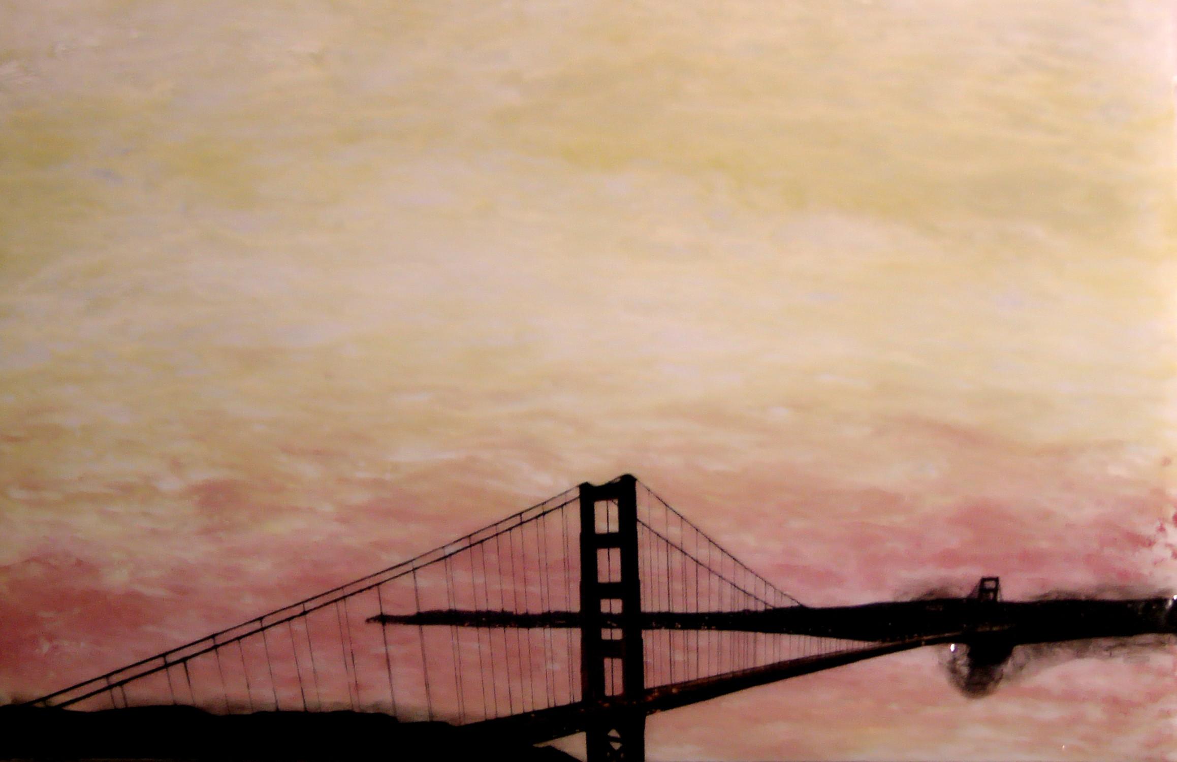"A San Francisco Sun Set, 2012 22"" x 38"", Triptych Mixed Media on Glass $1500"