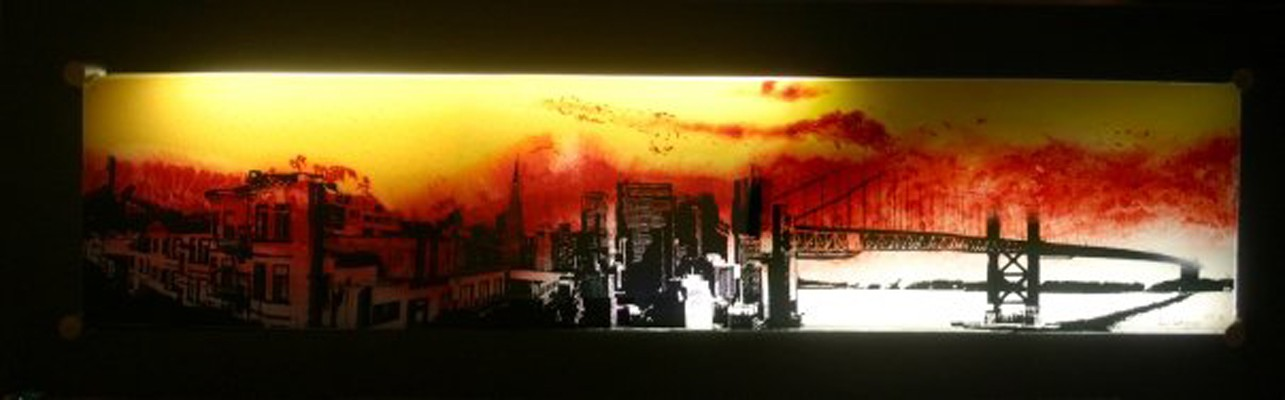 A Fire In The Sky Above San Francisco, 2009 Mixed Media on Glass 25″ x 80″