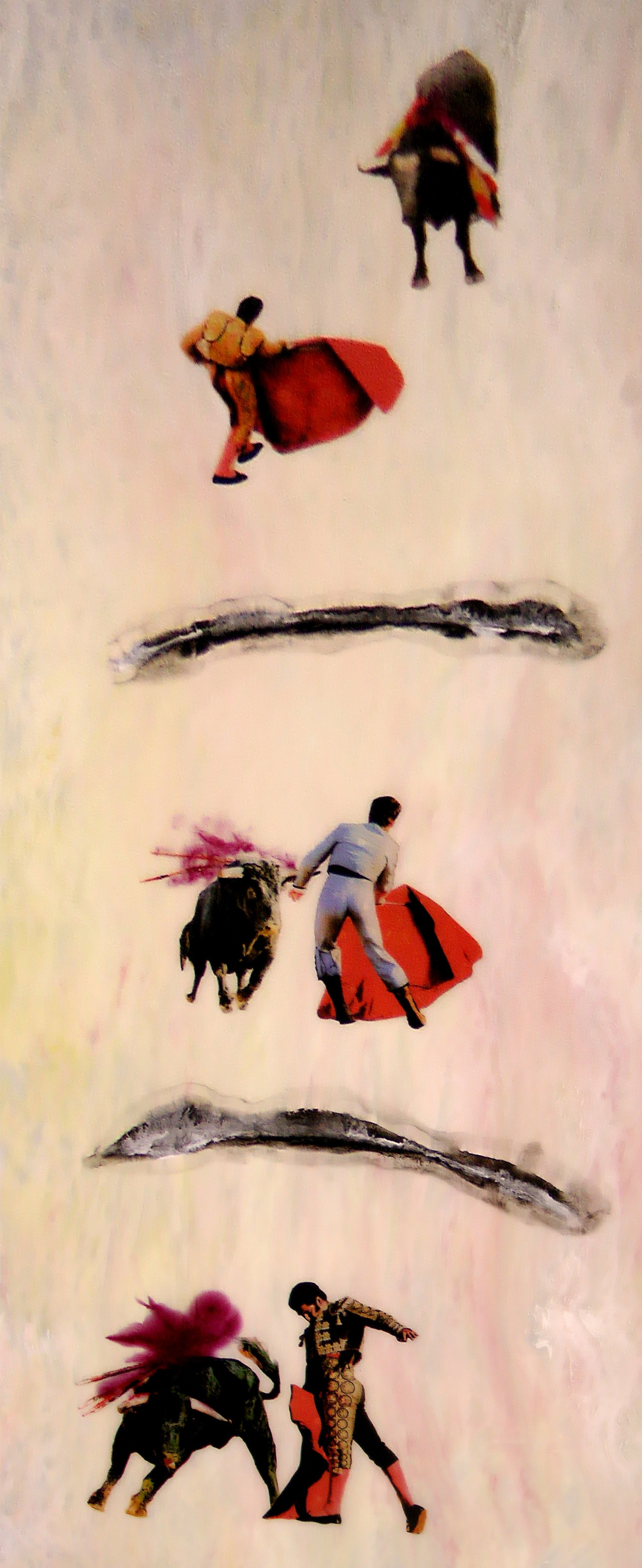 "The Bullfighter, 2012 72"" x 28"" Mixed Media on Glass Sold"