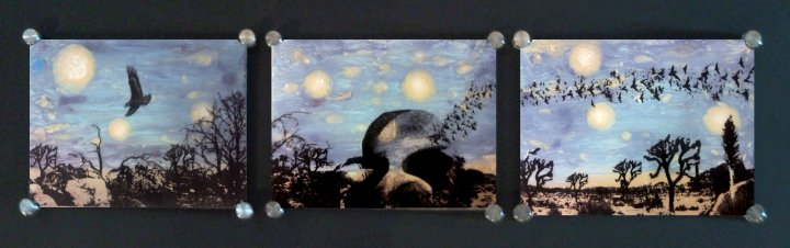 "A Dead Desert Night in Joshua Tree #1 20"" x 52"", Triptych Mixed Media on Glass $450"