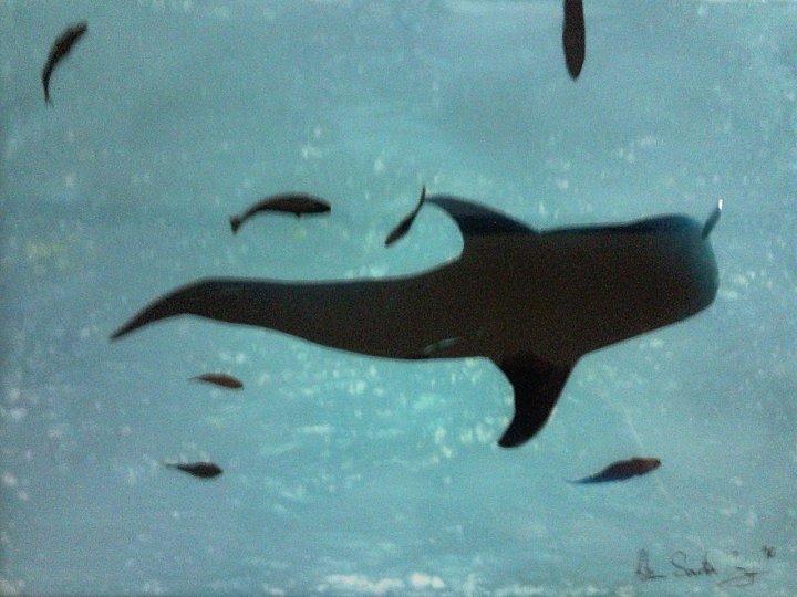 Big Fish, Little Fish #2, 10 x 14 Mixed Media on Glass SOLD