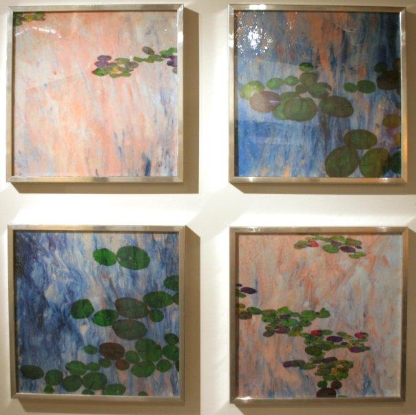 """Water Lilies #18, 2008 (4) 24"""" x 24"""" Liquid Plastic, Porcelainizer, Acetate Prints and Oil Paint Mixture on Film"""