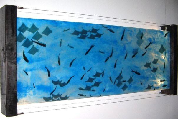 """Aquarium #1, 2009 34"""" x 72"""" - Liquid Plastic, Porcelainizer, Acetate Prints and Oil Paint Mixture on Glass. Back-Lit Glass Painting. $3,500"""