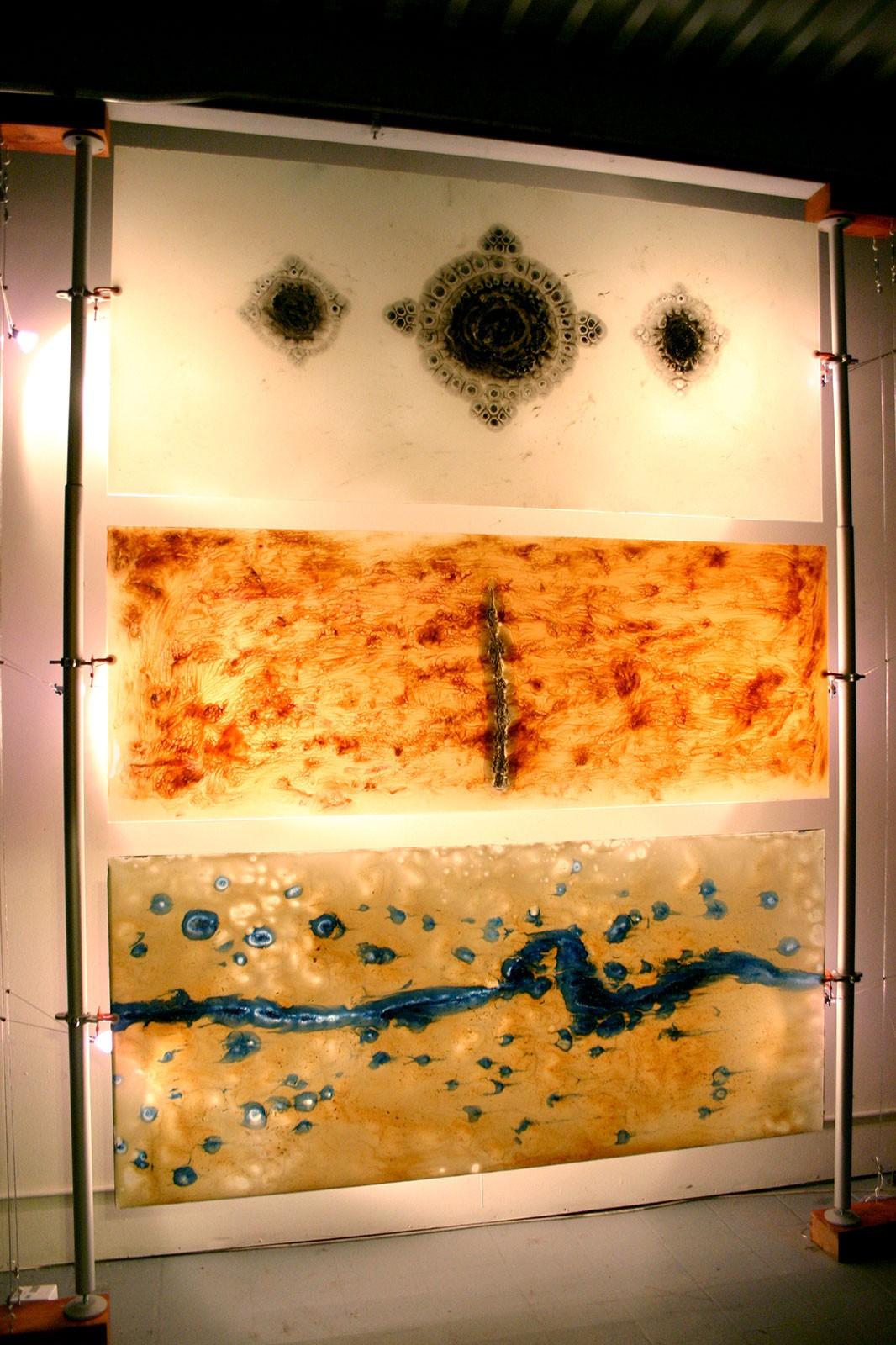 "Meditation Triptych, 2006 Mixed Media on Glass (3) 28"" x 76"""