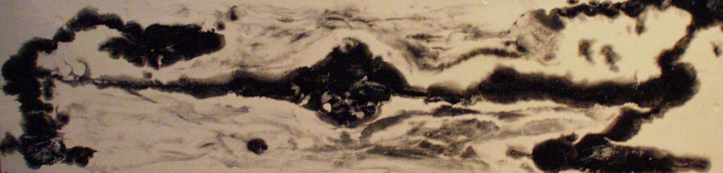 "Mind Eraser, 2004 34"" x 72"" - Liquid Plastic, Porcelainizer and Oil Paint Mixture on Glass. Back-Lit Glass Painting. SOLD"