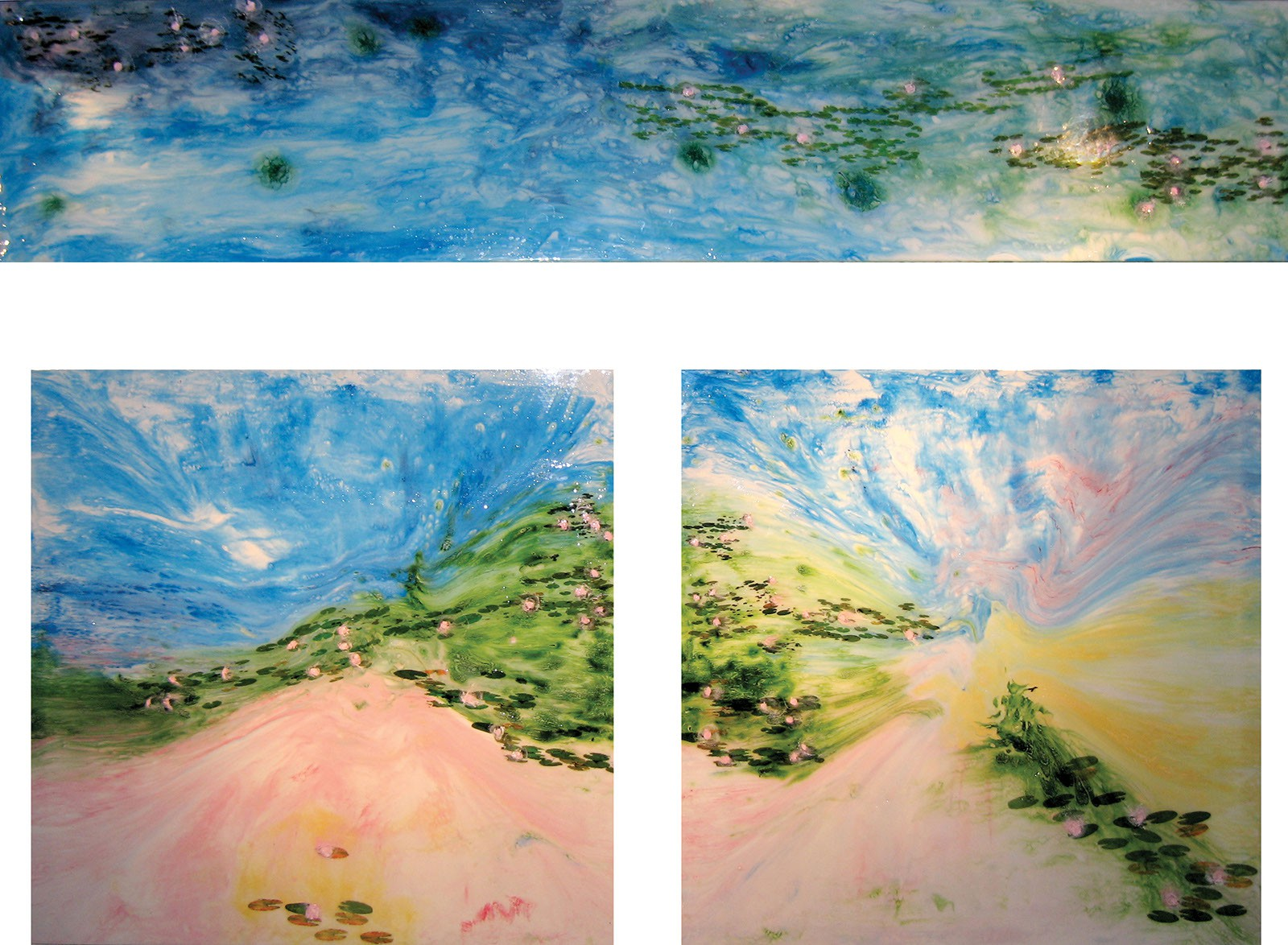 "Water Lilies #1-3, Triptych, 2007 14"" x 68"", (2) 49"" x 49"" - Liquid Plastic, Porcelainizer, Acetate Prints and Oil Paint Mixture on Glass. Back-Lit Glass Painting. SOLD"