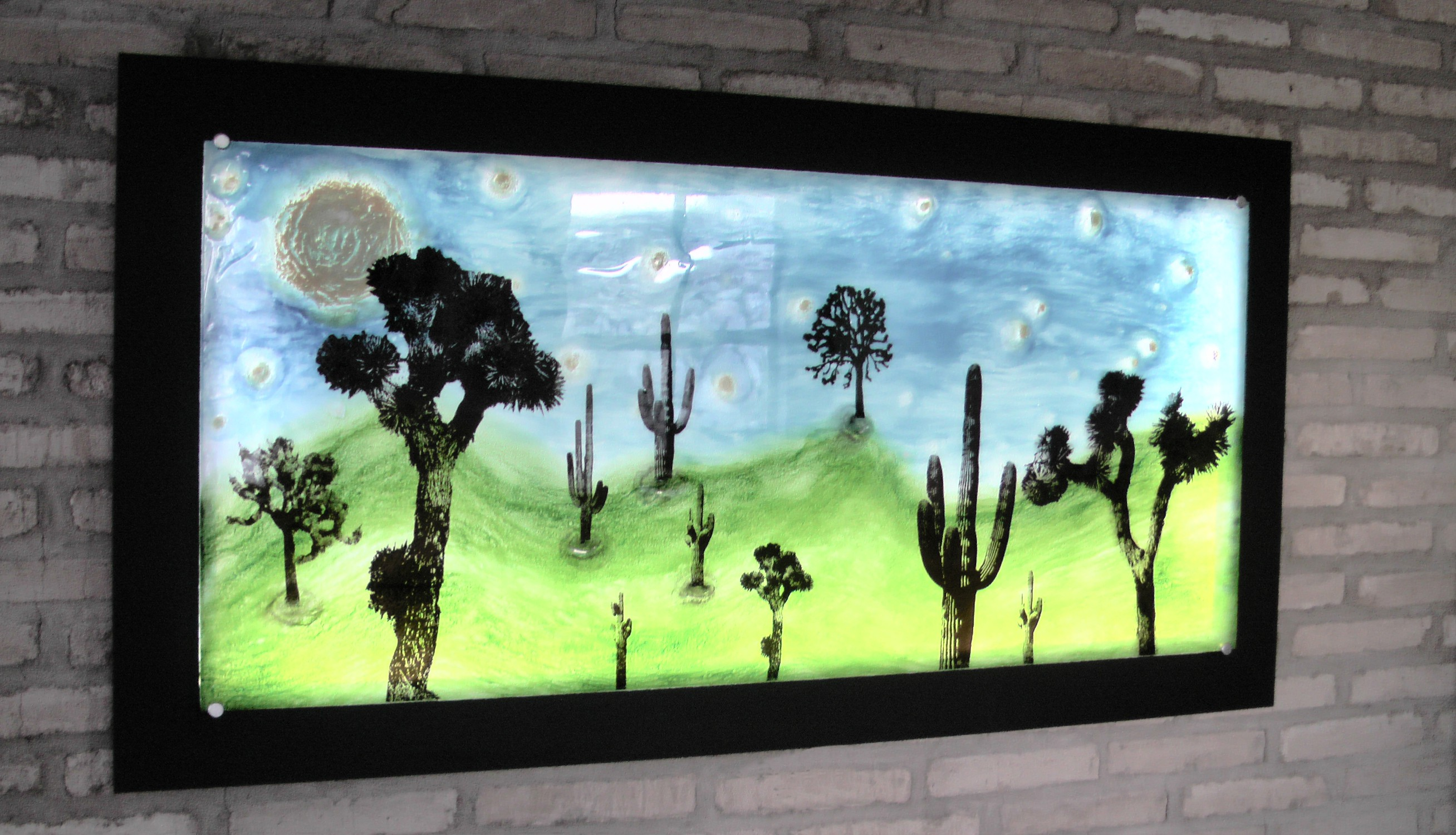 "A Dead Desert Night #5, 20112 38"" x 72"" Mixed Media on Glass $4500"